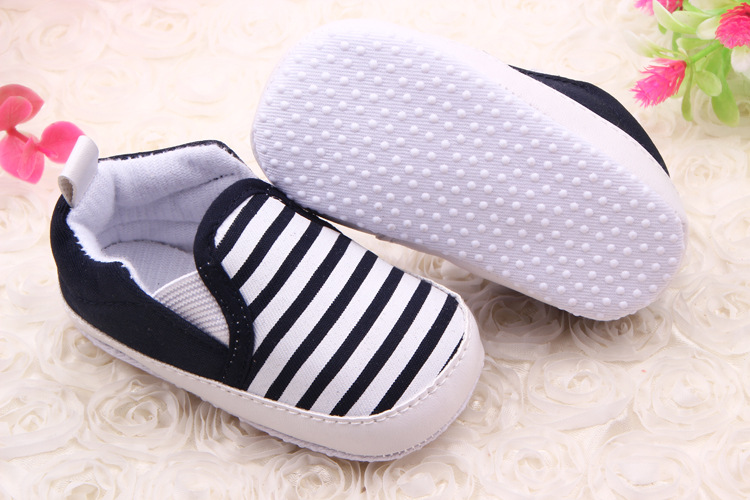 Baby Kids Toddler Unisex Boys Girls Soft Walkers Navy Stripe Cloth Shoes