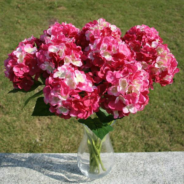 Faux Artificial Silk Floral Flower Bouquet Hydrangea Party Decor ...