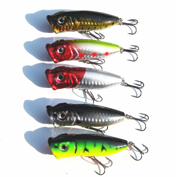 5pcs topwater popper minnow freshwater fishing lures bass for Topwater bass fishing