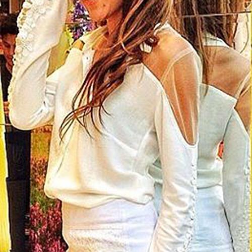 New Fashion Leisure Women Ladies Lace Splice Long Sleeves Label Shirts White