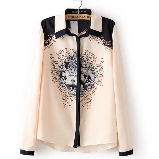 New Fashion Women Ladies Label Long Sleeves Printed T-Shirt Casual Shirt Blouse