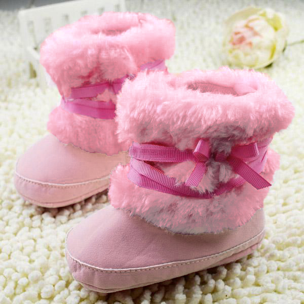 Baby Infant Girls Bowknot Crib Shoes Warm Fleece Prewalker Boots 0-18M