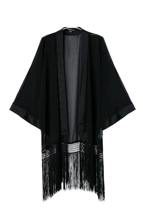 New Women Kimono Style Batwing Chiffon Tassel Long Sleeve T-Shirt Tops Cardigan