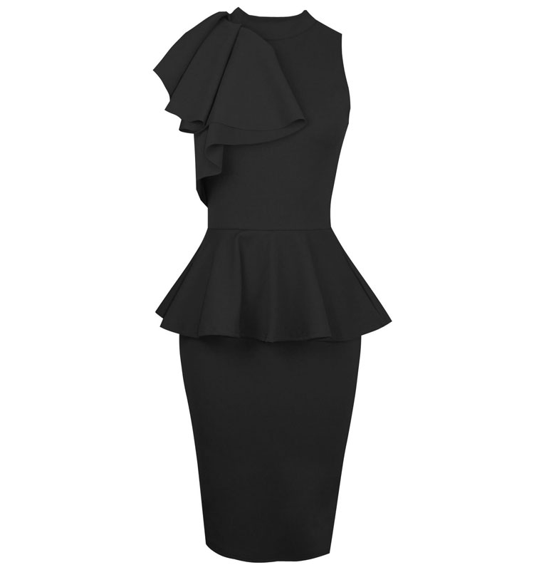 New Women Bodycon Sleeveless Peplum Frill Sexy Elegant Cocktail Long Dress