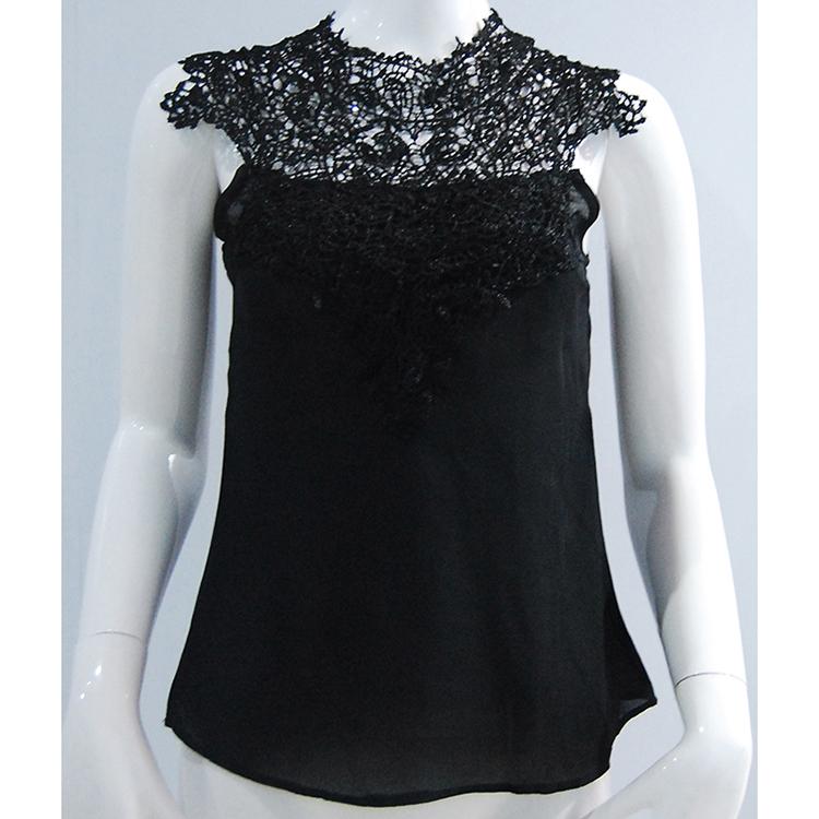 Women Sexy Sleeveless Chiffon Lace Casual Turtleneck Backless Tops T-Shirt