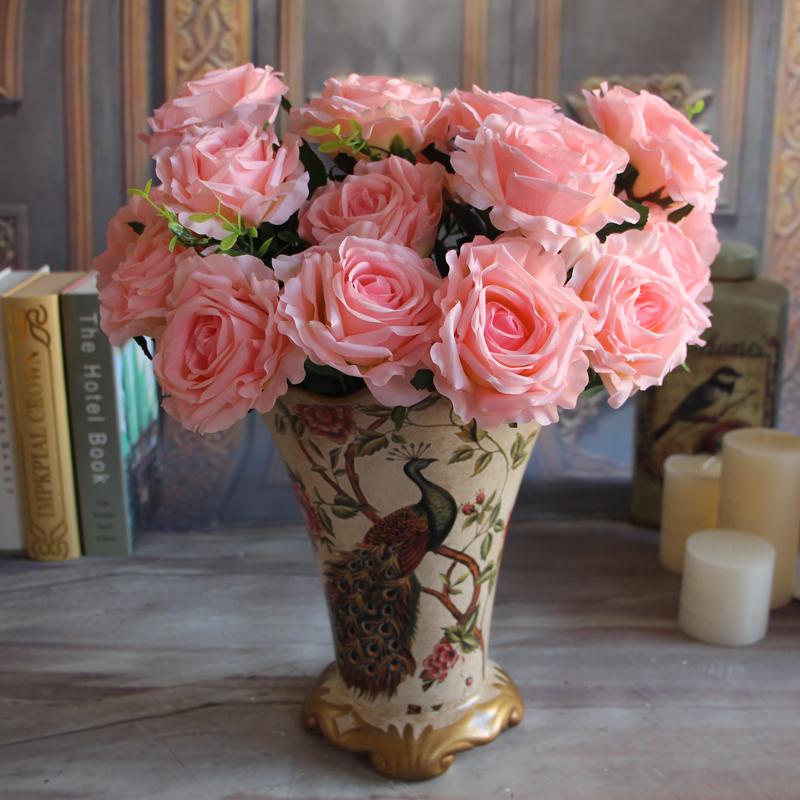 14C3-Wedding-White-Bridal-9-Rose-Heads-Fake-Artificial-Flower-Cream-Rose-Room