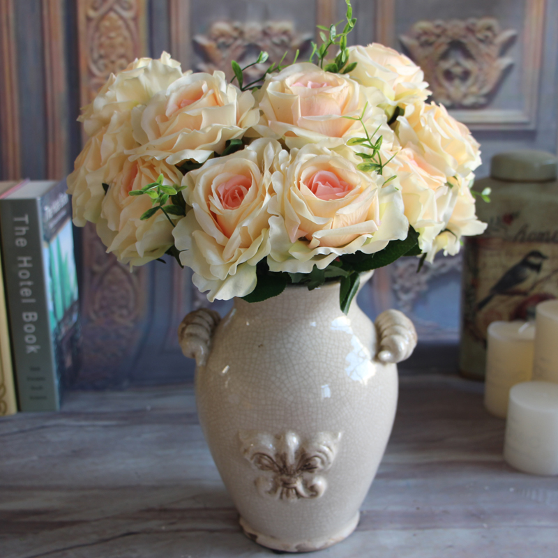 Wedding Bridal 9 Rose Heads Fake Artificial Flower Big Silk Cream ...