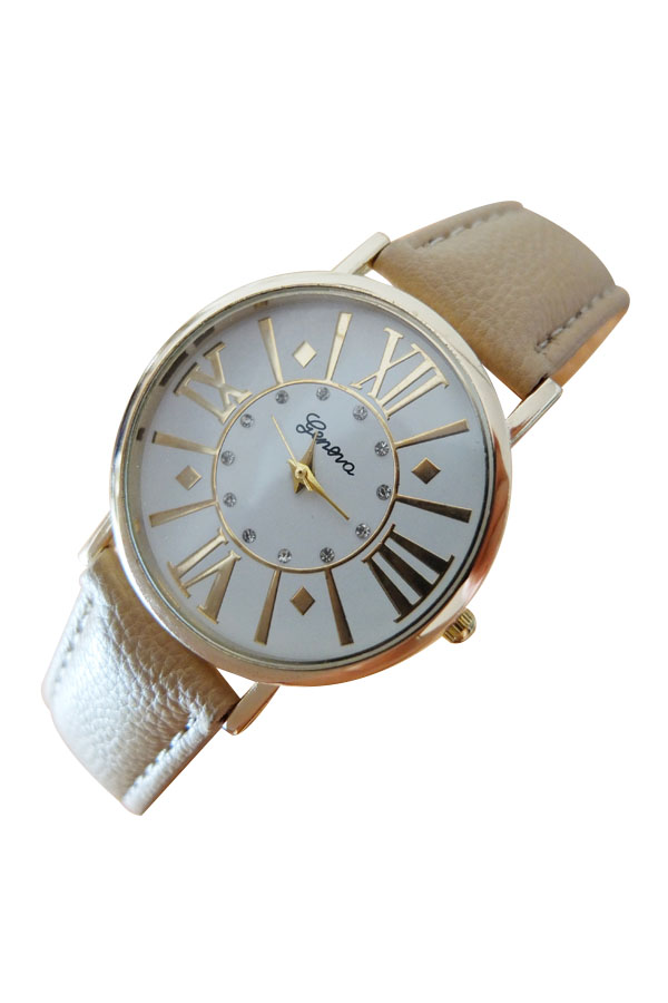 Classic Geneva Women's Mens Unisex Roman Numeral Band Quartz Wrist Watch