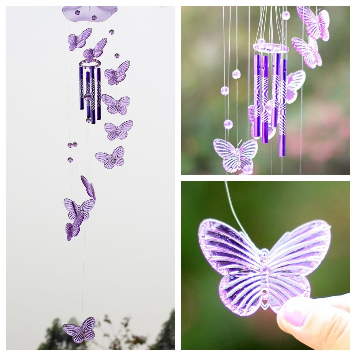 Crystal butterfly wind chime bell garden ornament gift for Outdoor hanging ornaments