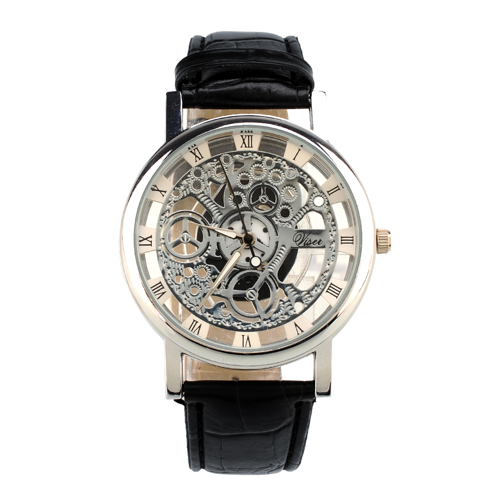 7D18-Skeleton-Dial-Mens-Leather-Band-Stainless-Steel-Dial-Wrist-Watch-Hour-NEW
