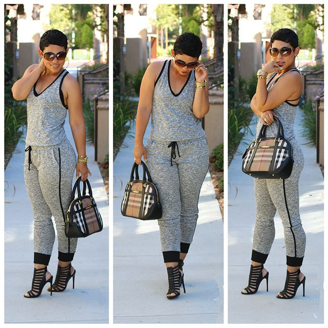 New Women Lady Summer V Neck Pants Trousers Playsuit Jumpsuit Long Rompers