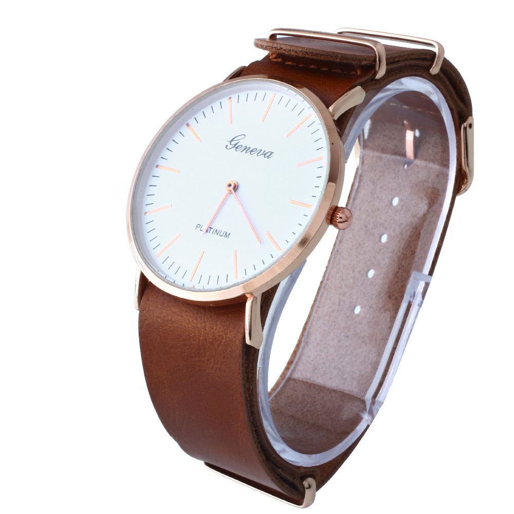 Fashion Geneva Unisex Vintage Men's Leather Wrist Quartz ...