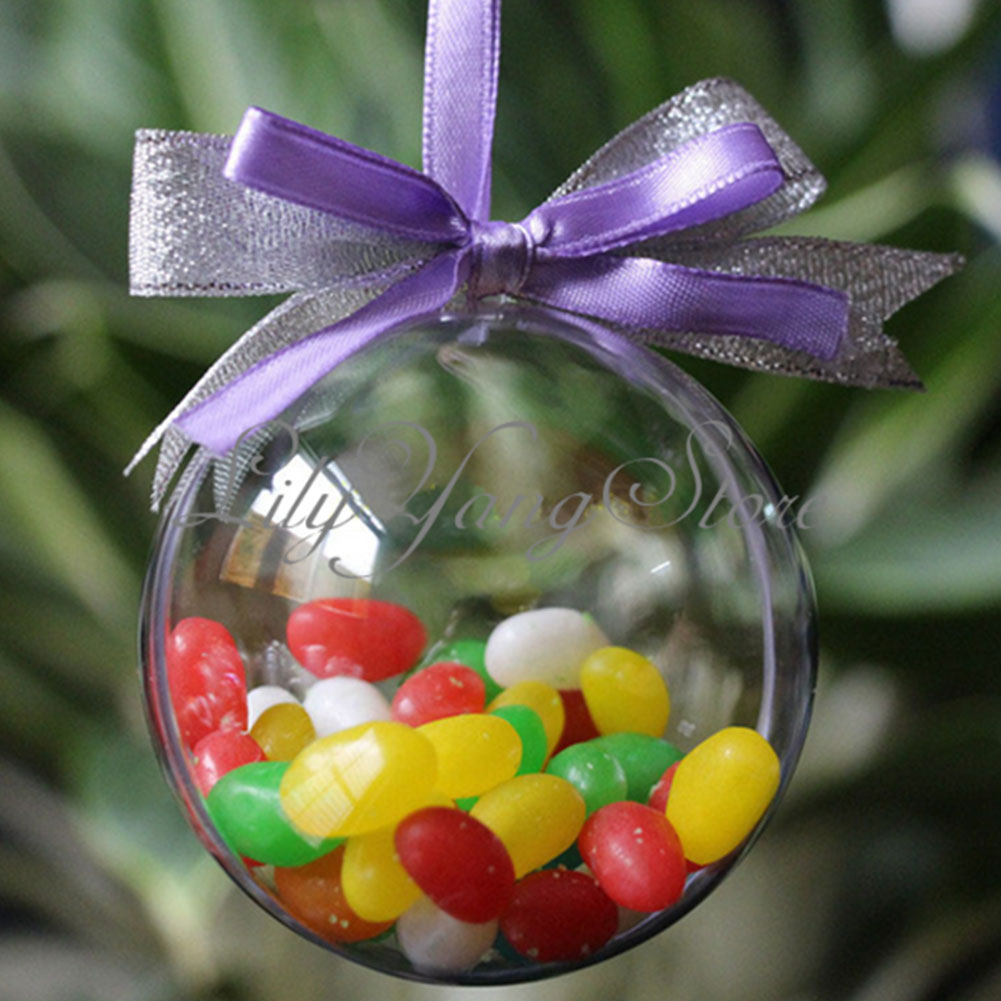 10cm christmas decorations hanging ball bauble candy for Outdoor christmas baubles