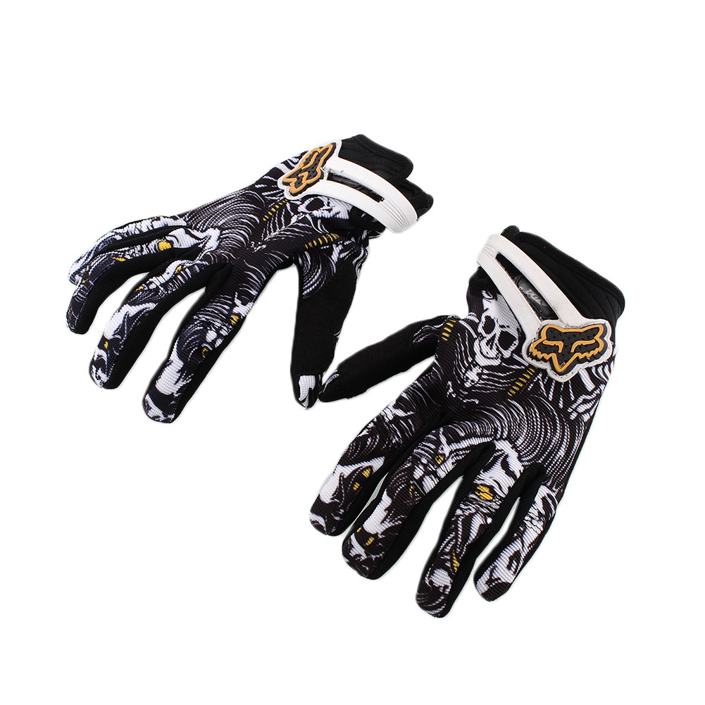 Skull Motocross Motorcycle Motorbike Riding Bike Cool Full Finger Gloves