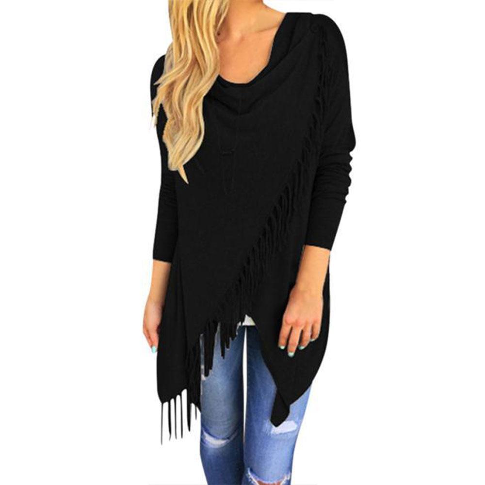 damen asymmetrisch tassel cardigan strick mantel coat cape pulli pullover ebay. Black Bedroom Furniture Sets. Home Design Ideas