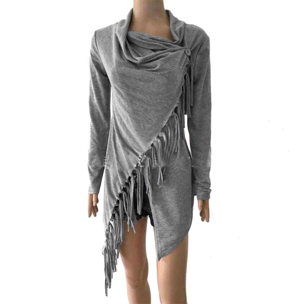 damen asymmetrisch tassel cardigan strick mantel coat cape. Black Bedroom Furniture Sets. Home Design Ideas