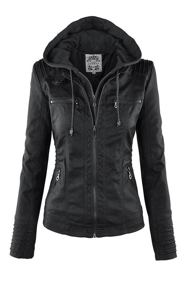 damen pu leder jacke women pu leather jacket mantel parka. Black Bedroom Furniture Sets. Home Design Ideas