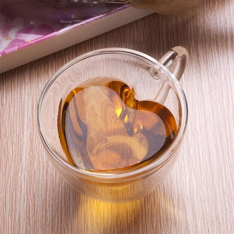 180/240ml Heart Double Wall Layer Clear Transparent Glass Tea Cup Coffee Mug