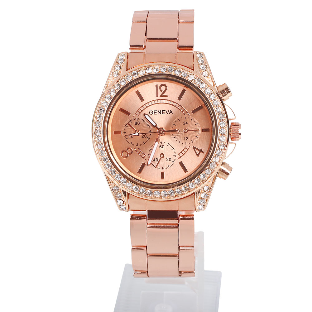 luxury geneva rhinestone stainless steel wrist