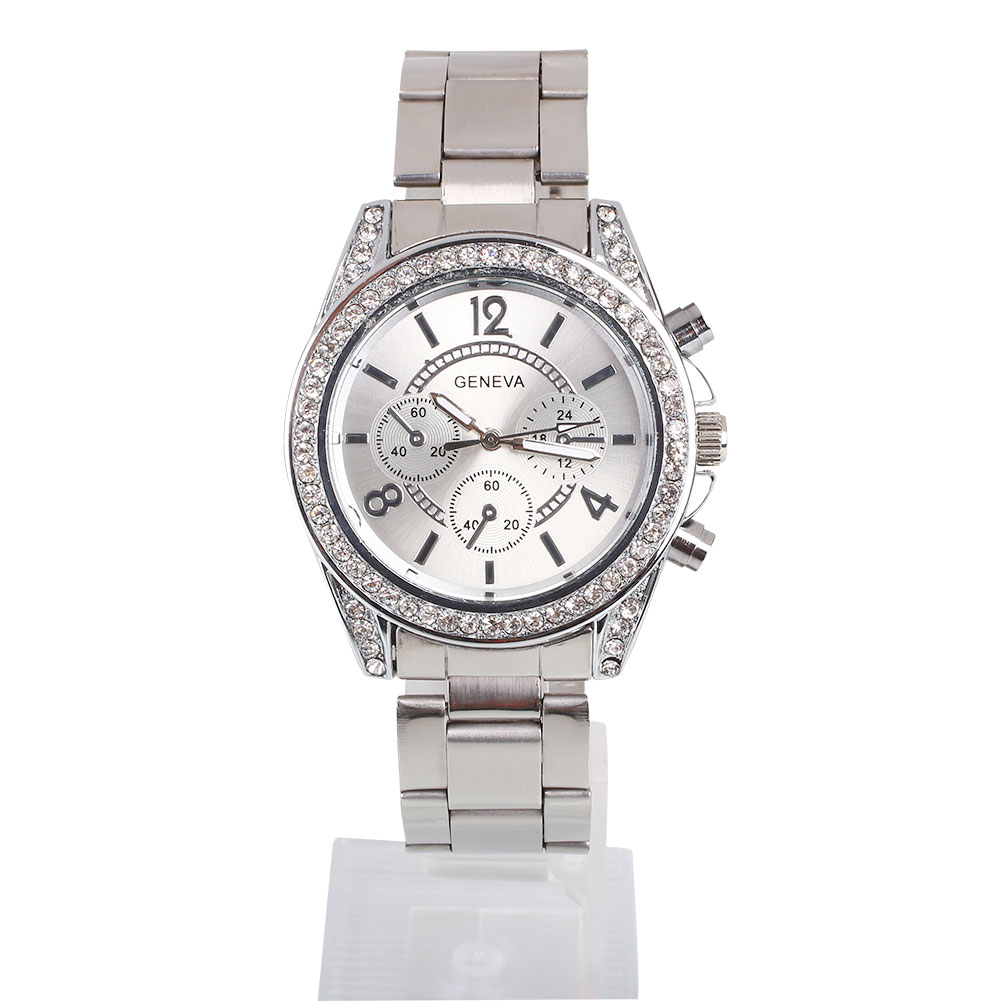 Luxury geneva women rhinestone stainless steel wrist watch bracelets watches ebay for Watches geneva