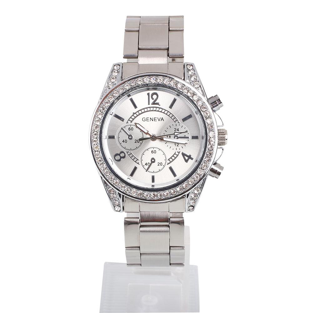 Luxury geneva women rhinestone stainless steel wrist watch bracelets watches ebay for Watches geneva