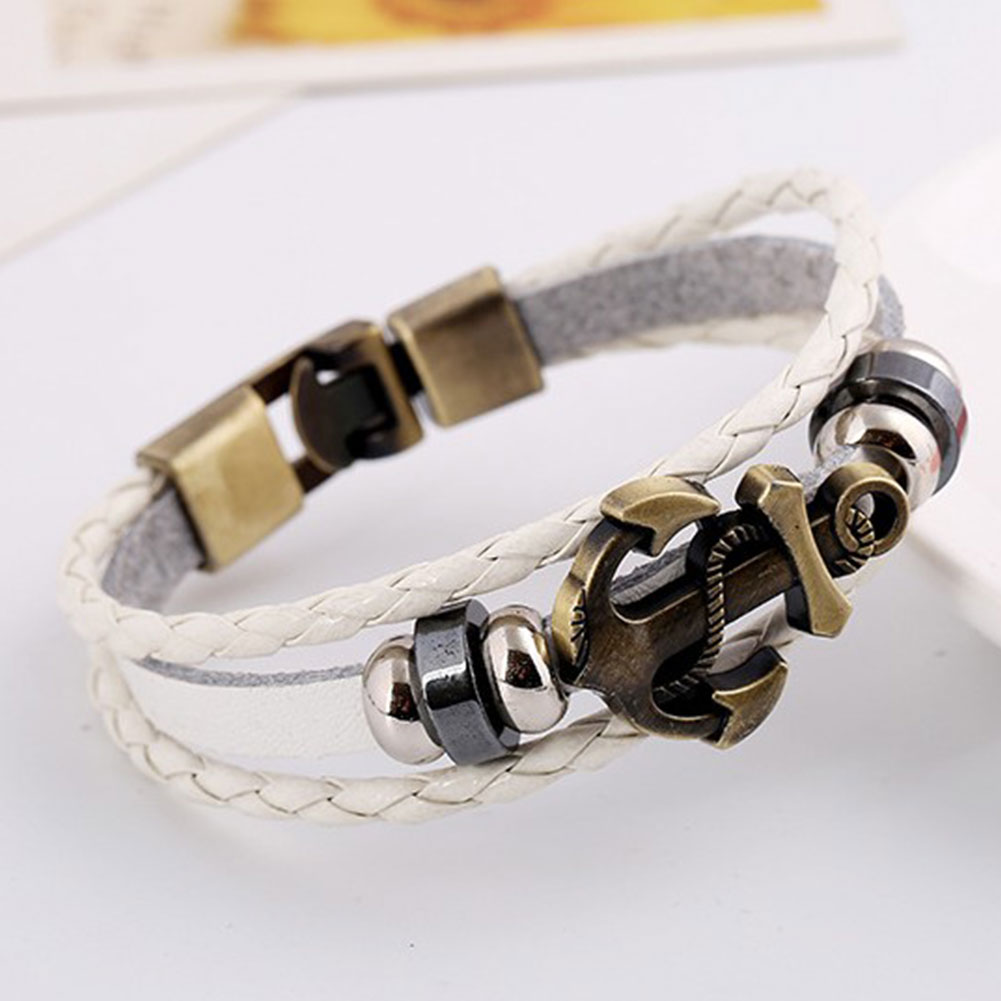 Engraved Charms For Bracelets: Braided Anchor Leather Bracelet Men Engraved Bracelets