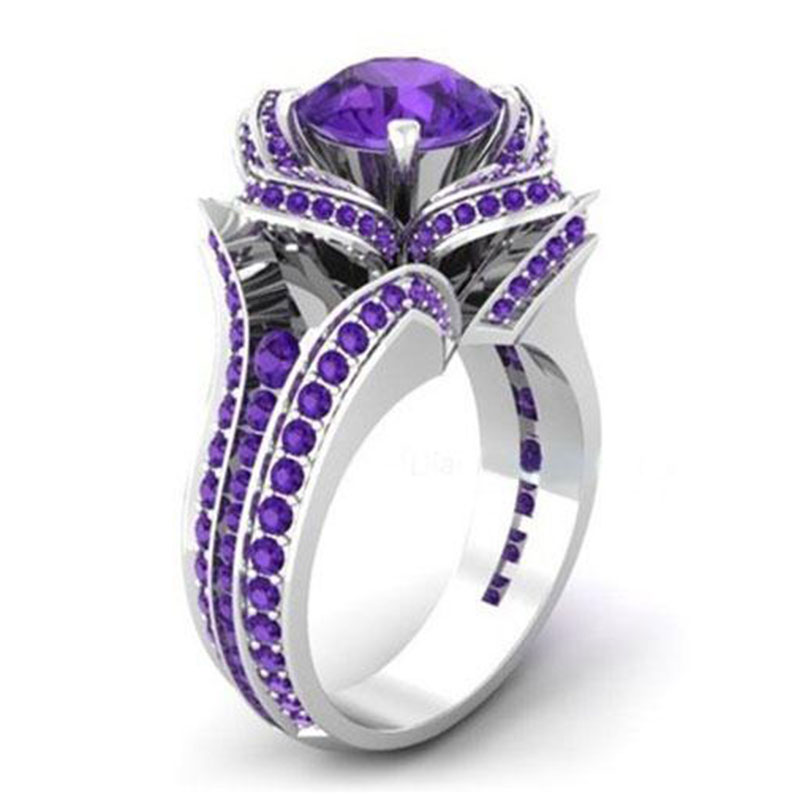 Wedding Flowers And Rings: Purple Zircon Filled Engagement Wedding Flower Gemstone