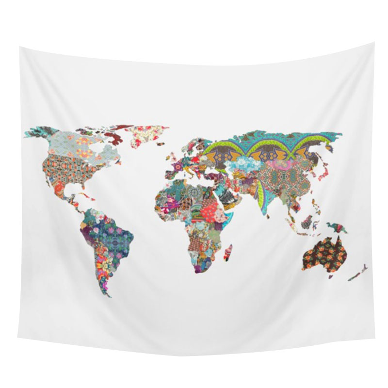 World Map Tapestry Wall Hanging fashion world-map printed rectangle versatile boho tapestry wall