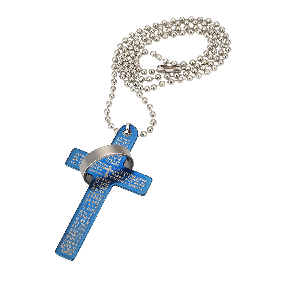stainless steel cross pendant black silver bible