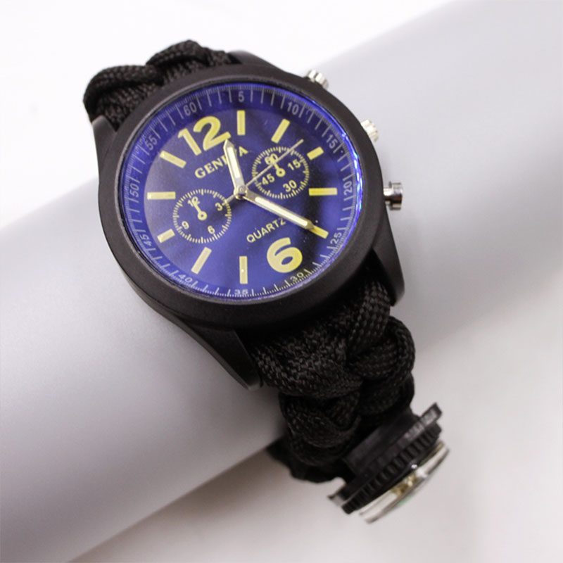 5-in-1-Survival-Paracord-Watch-Bracelet-With-Flint-Whistle-For-Hiking-Tool