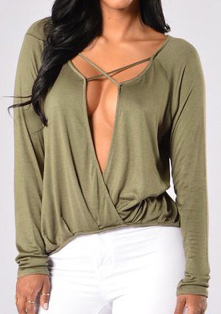 Women-T-Shirt-Long-Sleeve-Ruffled-Hollow-Deep-V-Neck-Cross-Blouse-Sexy-Top-Tee