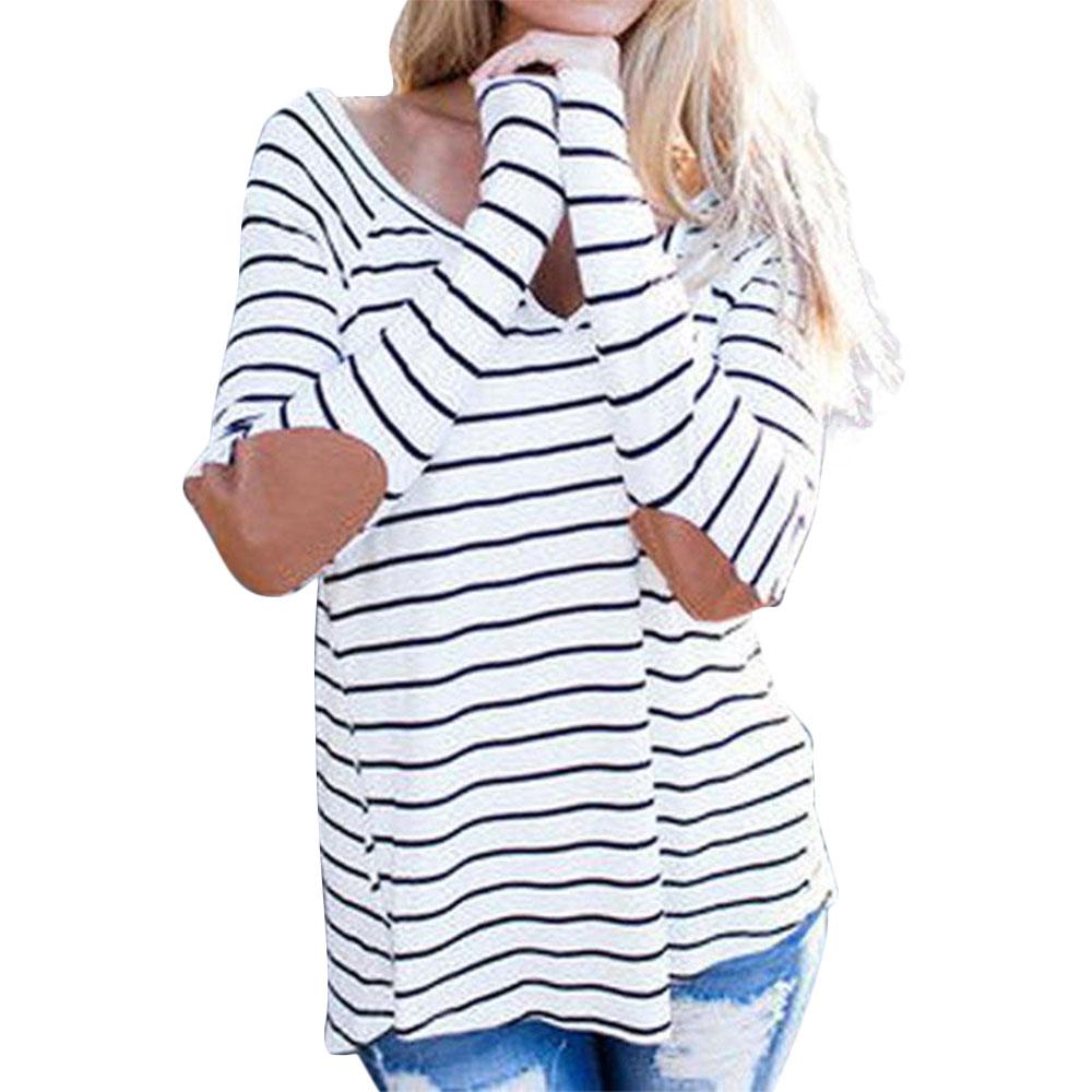 Women-T-Shirt-Striped-Long-Sleeve-O-Neck-Jumper-Pullover-Blouse-Top-Tee