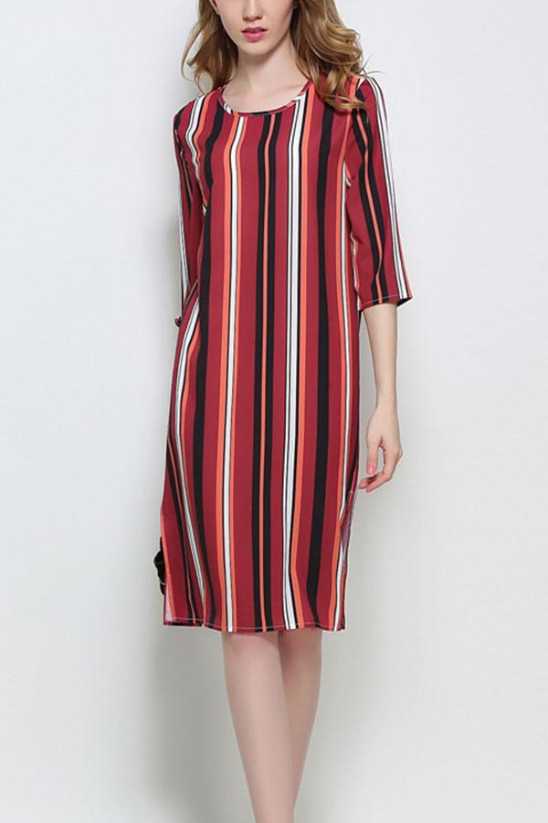 Women-Fashion-Sundress-Printed-O-Neck-Sleeveless-Half-Sleeve-Mini-Dress