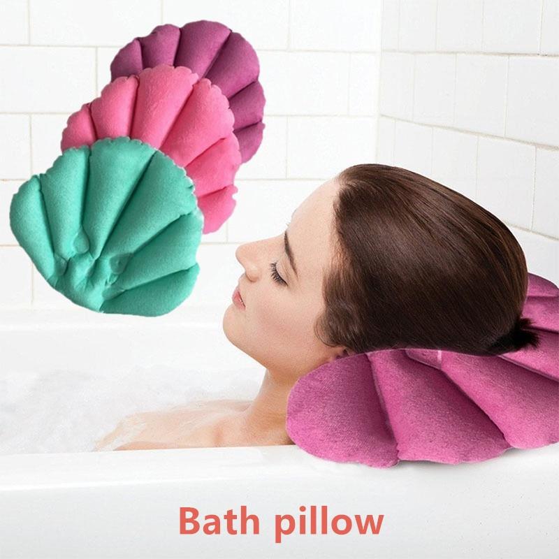 Bathroom Inflatable Bath Pillow Head Back Neck Cushion