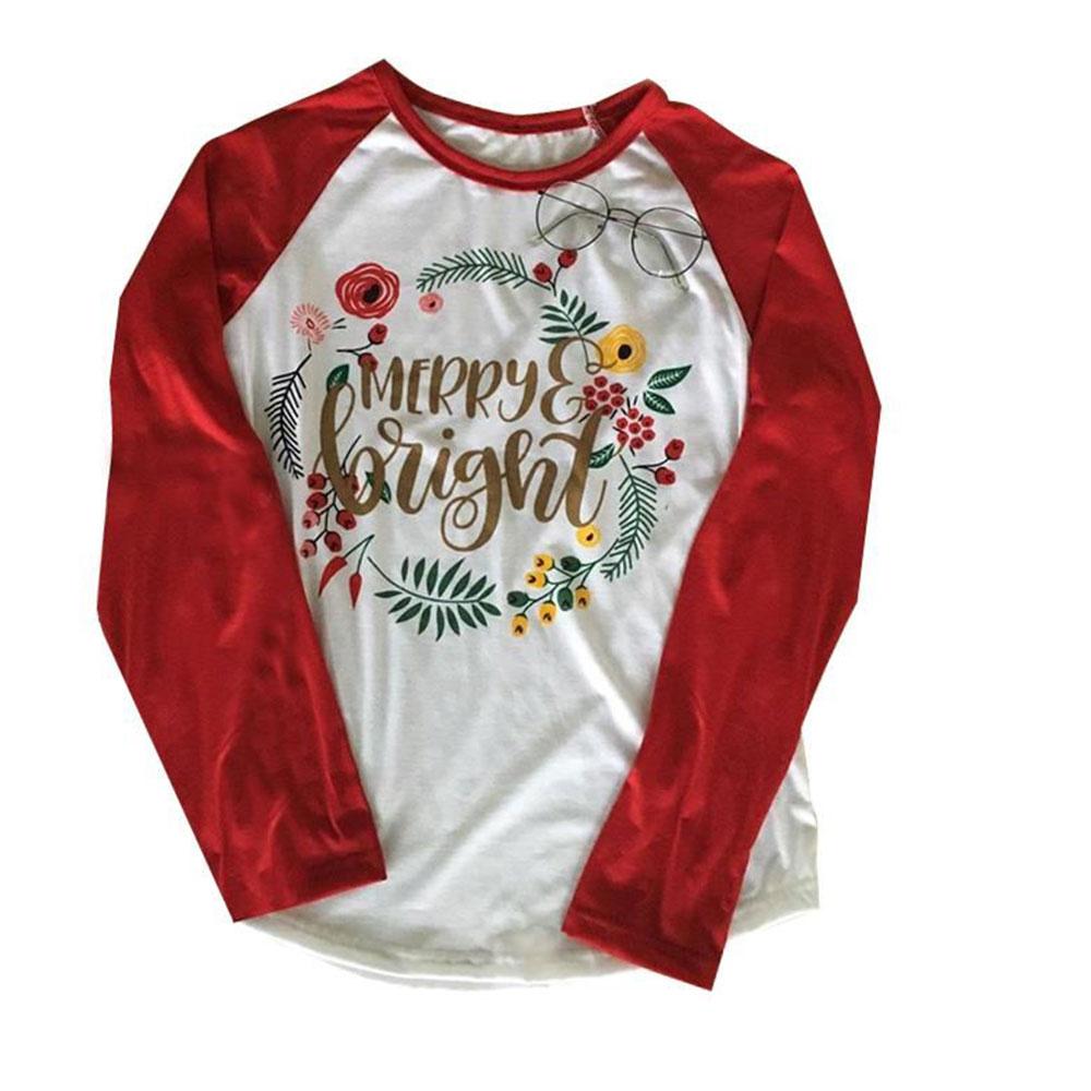 Women Tees Christmas Printed Long Sleeve Splicing O Neck Jumper Top T-Shirt   EBay