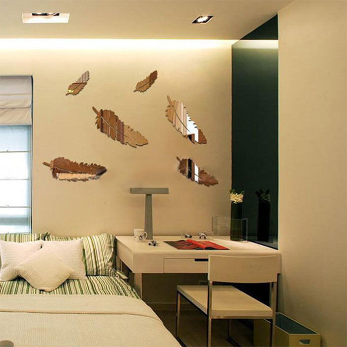 19C2-Creative-8pcs-Feather-Designed-3D-Mirror-Kid-Child-Kitchen-Wall-Stickers