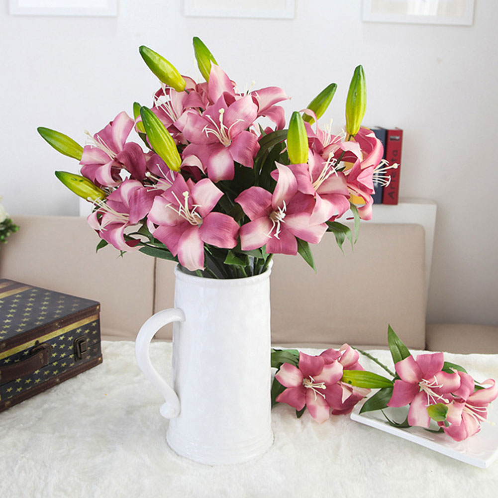 4644-Artificial-Flowers-Lily-Bouquet-Home-Hotel-Room-Wedding-Garden-Decoration