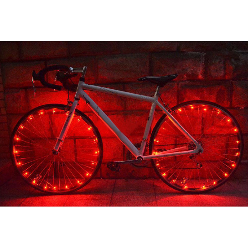 A8FD LED Cycling Rim Lights Wheel Spoke Bicycle String Strip Reflectors Lamp Red
