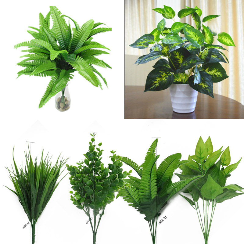 5F89-Artificial-Plants-Outdoor-Fake-Flower-Leaf-Bush-Home-Office-Garden-Decor