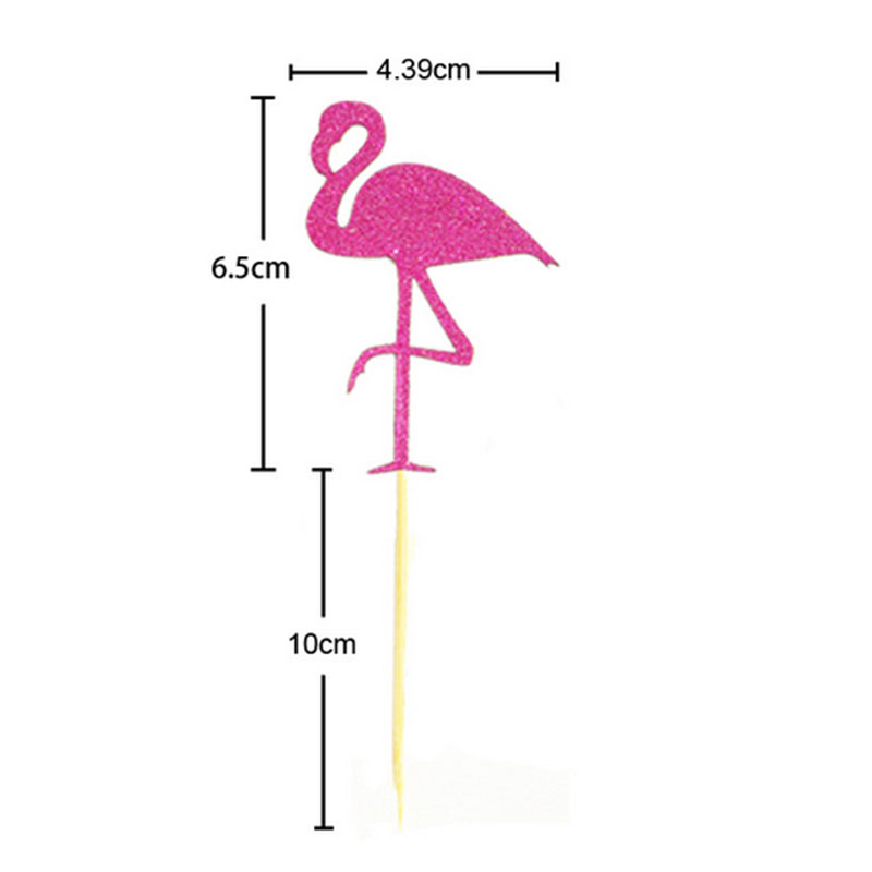 A097-Flamingo-Cupcake-Cake-Multicolor-Flags-Toppers-Decoration-Wedding-Party