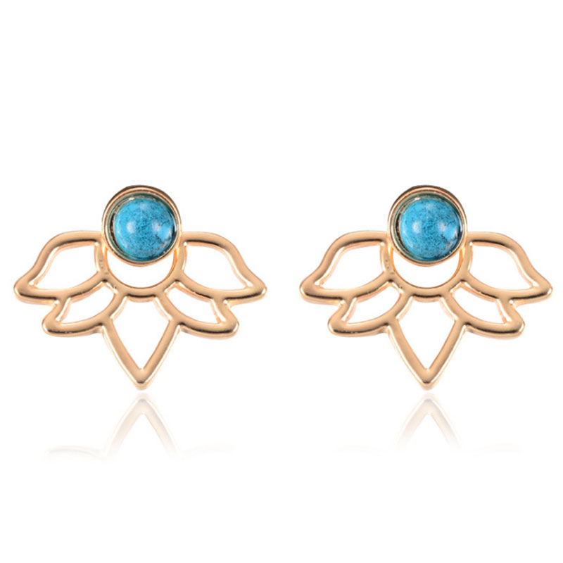 064C-Women-039-s-Fashion-Girls-Turquoise-Stone-Flower-Ear-Stud-Earrings-Jewelry