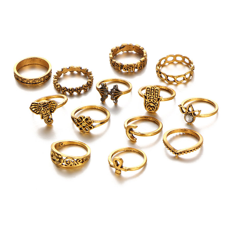 9A7F-13pcs-Set-Women-039-s-Fashion-Retro-Bohemian-Suit-Elephant-Moon-Rings-Jewelry