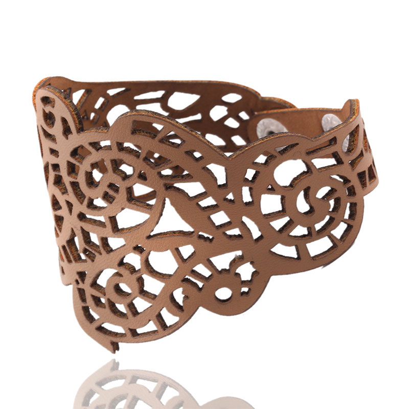 70FC-Style-Hollow-Flower-Wide-Bangle-Cuff-Leather-Bracelet-Artificial-Elegant