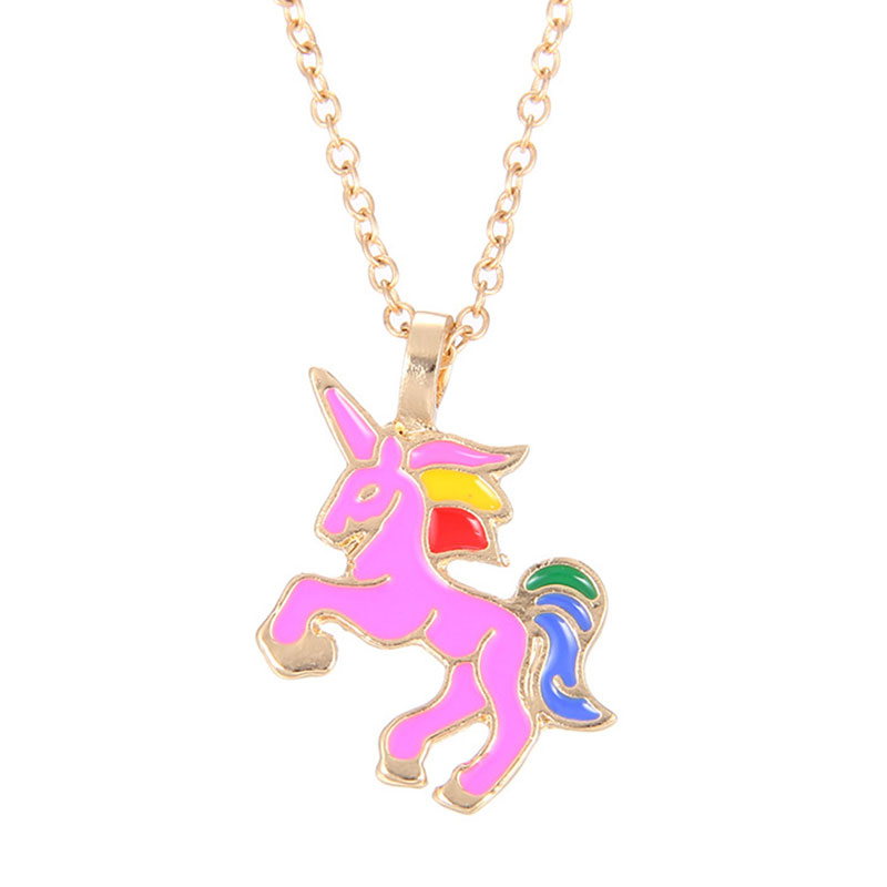 EB80-Glaze-The-Sparkled-Unicorn-Rainbow-Horse-Pendants-Necklaces-Jewelry-Gift