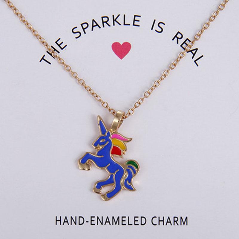 EB80-Glaze-The-Sparkled-Unicorn-Rainbow-Horse-Pendants-Necklaces-Jewelry-Gift