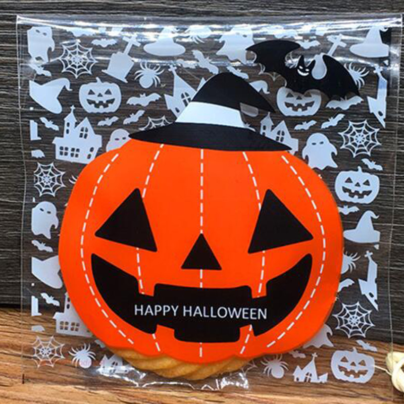 78B4-100Pcs-Halloween-Cellophane-Party-Self-Adhesive-Bag-Packing-Food-Package