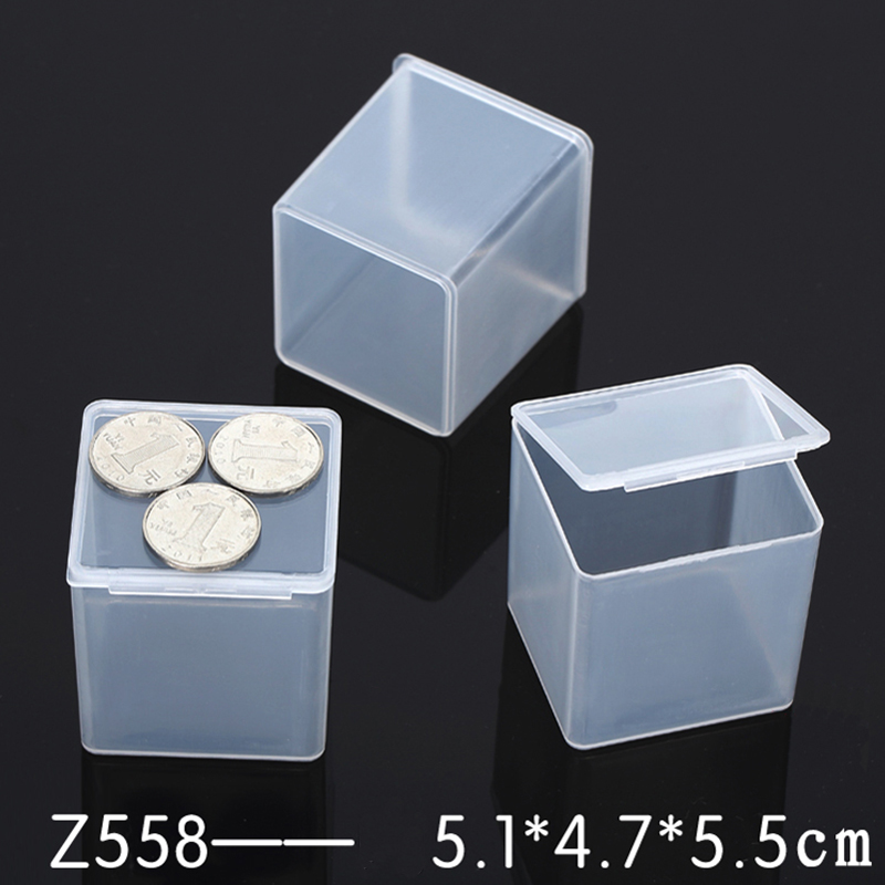 A40A-Square-Clear-Transparent-Plastic-Jewelry-Cosmetic-Storage-Box-White-Case