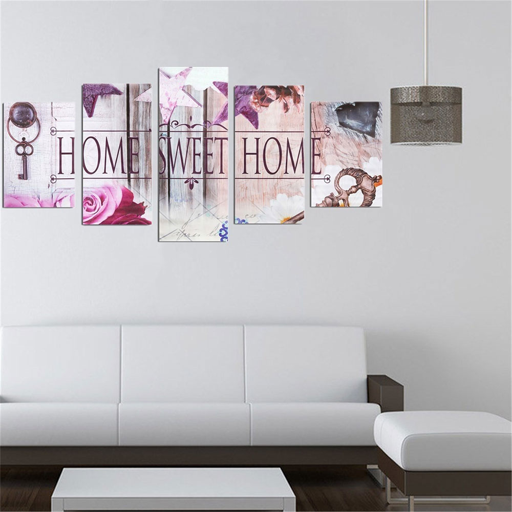 C521-5Pcs-Set-Home-Sweet-Home-Canvas-Print-Oil-Painting-Wall-Picture-Floral