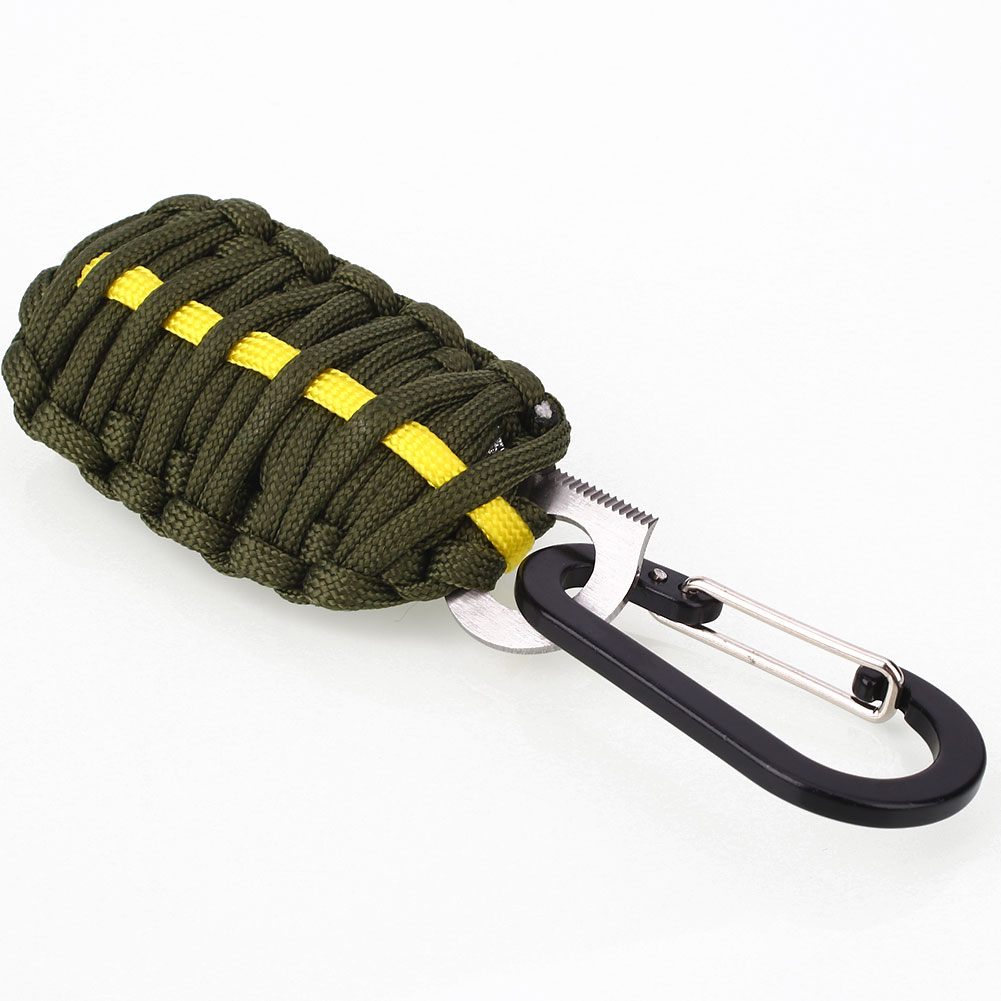 Paracord gear carabiner nylon rope emergency survival kit for Survival fishing kit