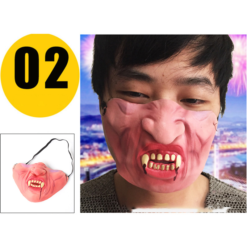 B720-Funny-Half-Face-Mask-Hillbilly-Fancy-Comedy-People-Face-Stag-Latex-Masks